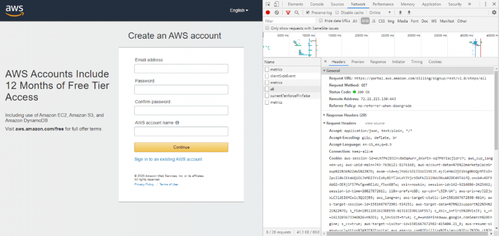 API request in the browser